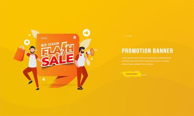 Insegne per le promozioni di commercio elettronico con il concetto dell'illustrazione di vendita istantanea di mezza stagione