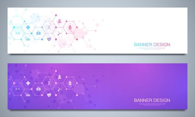 Banner per la sanità e la decorazione medica con icone e simboli piatti