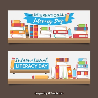 Banner di giornata di alfabetizzazione piena di libri