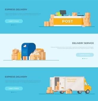 Banner di un sito di posta. illustrazione dei pacchi. consegna dell'ordine. auto, box, ufficio postale.