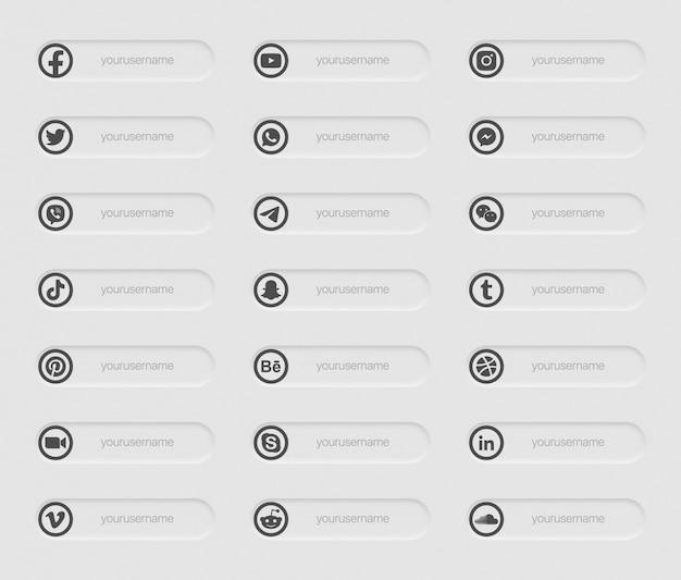 Bandiere social media popolari terza icone inferiore