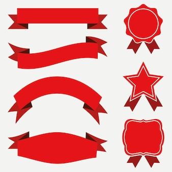 Striscioni e nastri, set di etichette. adesivi rossi su sfondo bianco. illustrazione vettoriale.