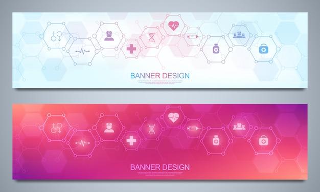 Modello di banner per la decorazione sanitaria e medica con icone e simboli. concetto di scienza, medicina e innovazione tecnologica.