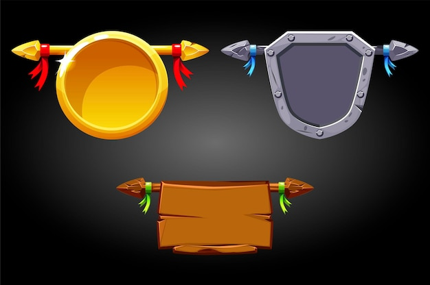Modelli di banner, scudi in metallo dorato in legno per giochi. illustrazione set di etichette vuote per il gioco dell'interfaccia utente delle risorse.