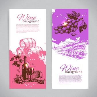 Banner di vino vintage background. illustrazioni disegnate a mano.