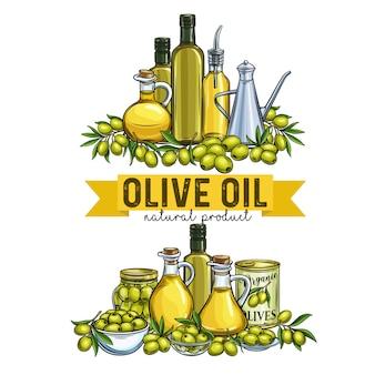 Striscioni con olive disegnate a mano, rami di un albero, bottiglia di vetro, brocca, distributore di metallo e olio d'oliva per il packaging design del mercato degli agricoltori. illustrazione in stile retrò.