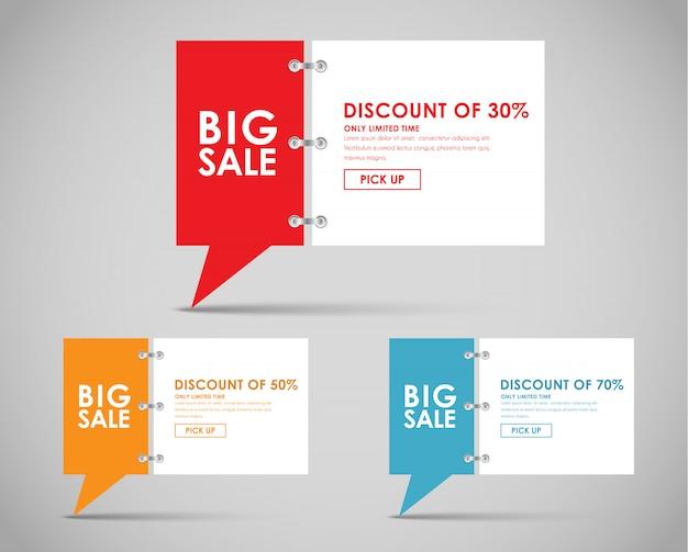 Banner con bolla di citazione per grande vendita