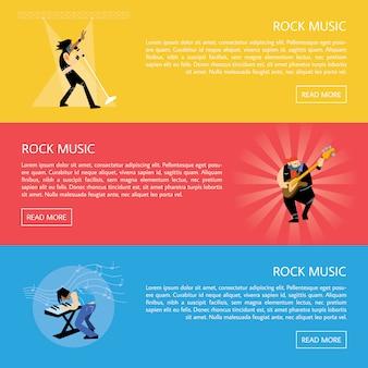 Banner con musicisti rock che suonano strumenti