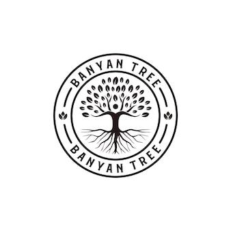 Ispirazione hipster retrò vintage albero di banyan