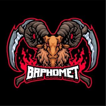Modello di logo della mascotte di baphomet