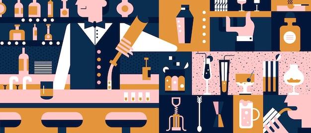 Illustrazione piana di bar e barista