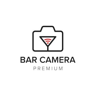 Modello di vettore dell'icona del logo della fotocamera a barra