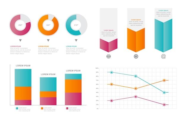 Insieme di elementi di infografica affari statistici diagramma grafico a barre grafico