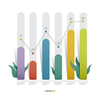 Illustrazione di infographic di affari statistici del diagramma dell'istogramma con la foglia della natura
