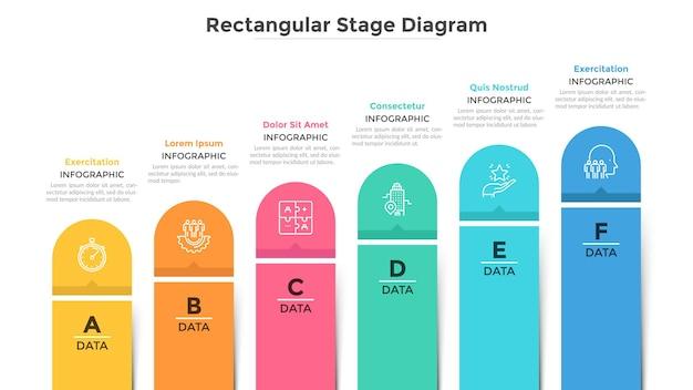 Grafico a barre con 6 colonne colorate. trend ascendente con sei fasi, sviluppo del business e visualizzazione della crescita. modello di progettazione infografica moderna. illustrazione vettoriale piatto per relazione sullo stato di avanzamento.