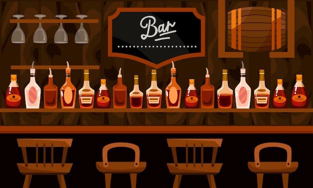 Bancone bar con bevande alcoliche. bottiglie, barile e sedie piatto fumetto illustrazione