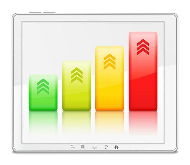Grafico a barre in tablet pc bianco, illustrazione