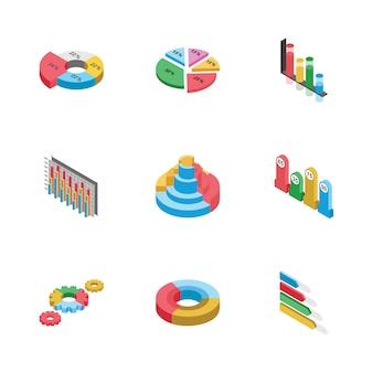 Pack di icone piane di grafici a barre e disegni grafici
