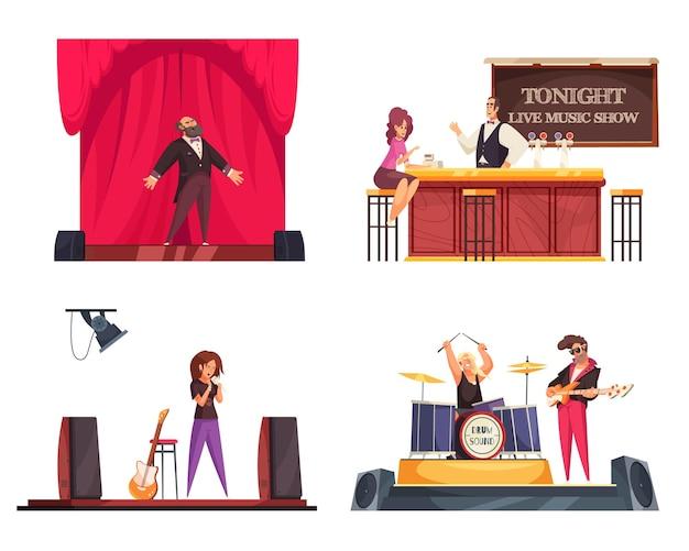 Bar con composizione di musica dal vivo, set di spettacoli di cantanti d'opera, musica bar e concerti rock