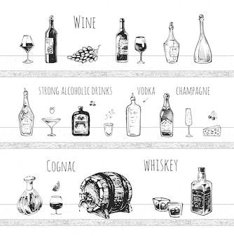 Progettazione di menu bar. bevande alcoliche forti, bottiglia di vino e bicchiere da vino, colpo di vodka, champagne, cognac e whisky con icone vettoriali di ghiaccio.