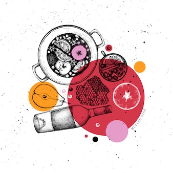 Menu del bar. illustrazioni di vin brulè disegnate a mano. ghirlanda di rombo con schizzi di bevande calde. cornice di cibo e bevande di natale. biglietto di auguri, invito o modello di volantino.