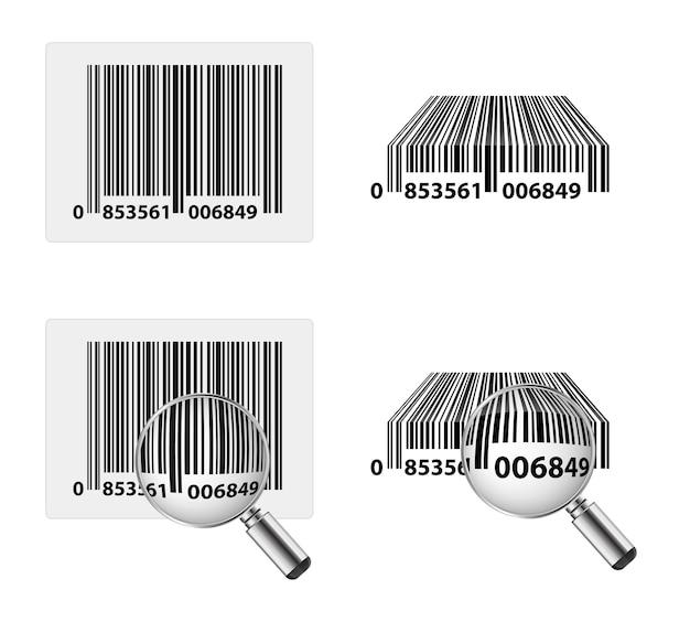 Codice a barre e qr con icona lente di ingrandimento 3d