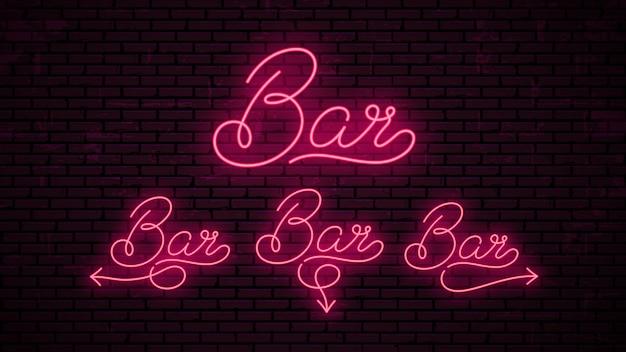 Bar - modello di iscrizioni pronto per insegna al neon.