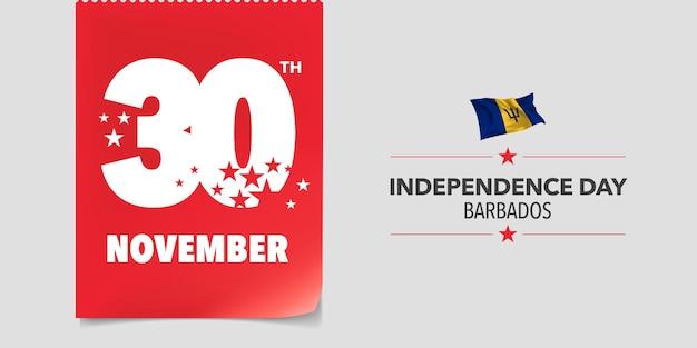 Biglietto di auguri per il giorno dell'indipendenza delle barbados, banner, illustrazione vettoriale. giornata nazionale delle barbados 30 novembre sfondo con elementi di bandiera in un design orizzontale creativo