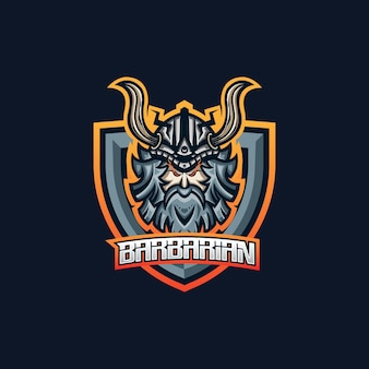 Barbarian esport gaming mascot logo template for streamer team.