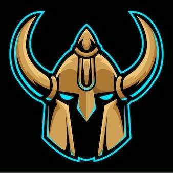 Modello di logo di casco testa d'oro vichingo cavaliere barbarico