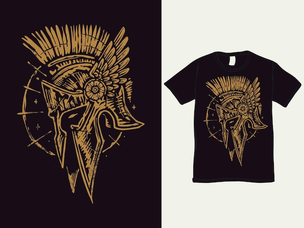 Il design della maglietta dell'elmo spartano barbaro
