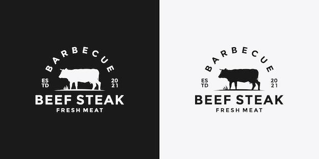 Design del logo della bistecca di manzo barbecue per il ristorante