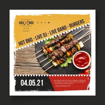 Modello quadrato di barbecue flyer