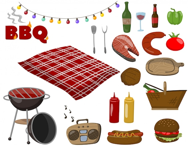 Insieme di raccolta di barbecue e griglia, simboli di cibo da picnic, bevande, bistecche di pesce e carne, accessori per un fumetto di barbecue illustrazioni di cartoni animati