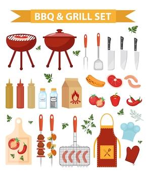 Set di icone di barbecue e griglia, stile piatto o cartone animato. collezione di oggetti per barbecue, elementi di design. isolato su sfondo bianco illustrazione.