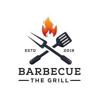 Barbecue la griglia logo modello vettore premium Vettore Premium