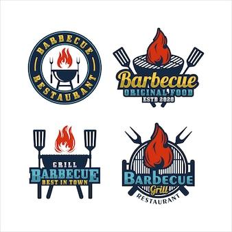 Collezione logo barbecue grill restaurant
