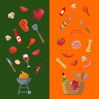 Modello di menu orizzontale barbecue, grill o bistecca