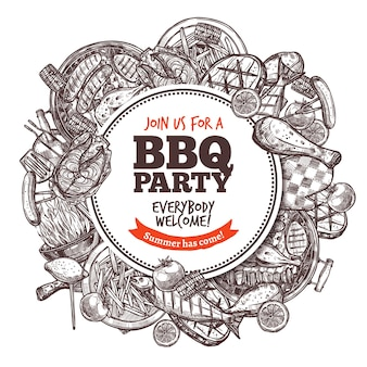 Schizzo di incisione disegnato a mano barbecue.