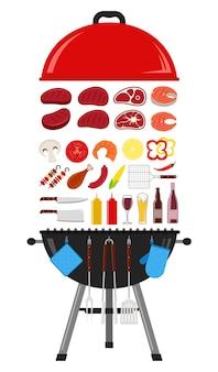 Illustrazione di barbecue. icone di attrezzature barbecue, carne, verdure, frutti di mare, bevande e grill