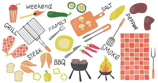 Gli elementi del barbecue hanno messo l'illustrazione piana di vettore isolato gli elementi del barbecue hanno messo il cibo alla griglia