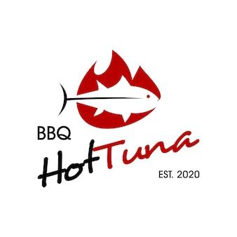 Barbecue logo pesce semplice grafica vettoriale