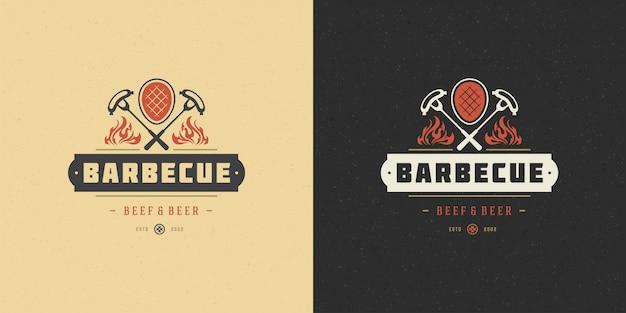 Bistecca della carne dell'emblema del menu del ristorante del bbq del barbecue dell'illustrazione di vettore di logo del barbecue