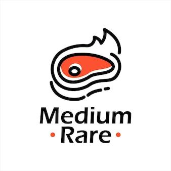 Disegno dell'etichetta grafica vettoriale del logo della carne del barbecue