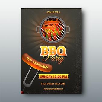 Scheda menu barbecue o invito.