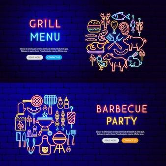 Banner al neon barbecue. illustrazione vettoriale di promozione grill.
