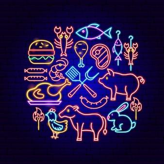 Barbecue concetto al neon. illustrazione vettoriale di promozione barbecue.