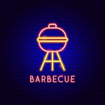 Etichetta neon barbecue. illustrazione vettoriale di promozione barbecue.