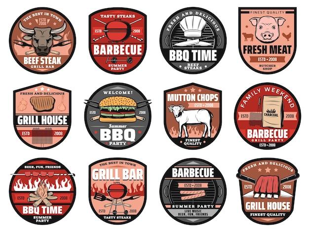 Barbecue party, grill bar e hamburger da picnic