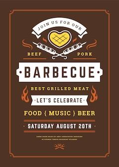 Modello di volantino o poster di invito a una festa barbecue